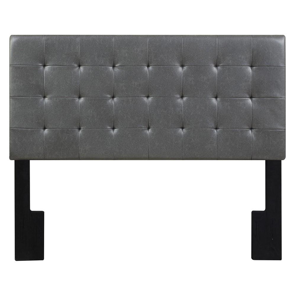 Mateo King Size Faux Leather Tuft Upholstered Headboard Gray Lummus Steel - Pulaski