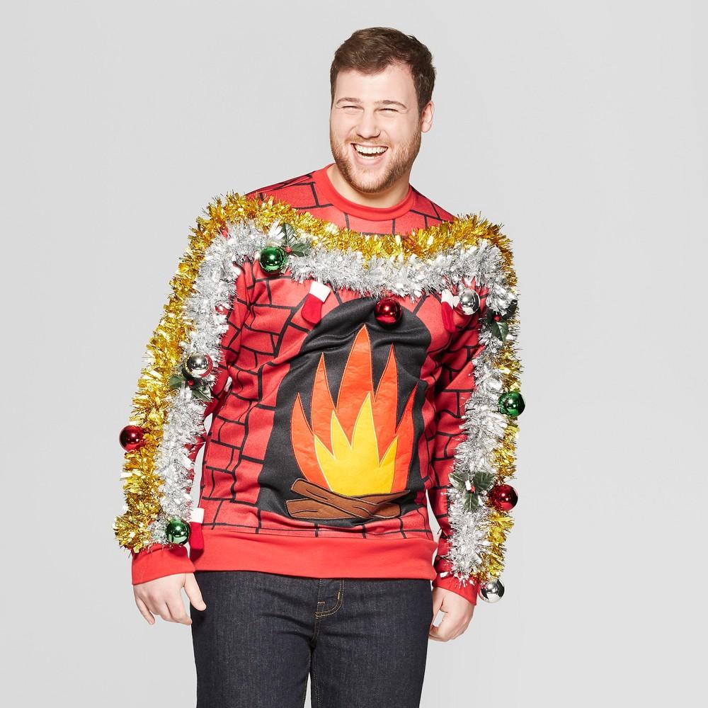 Men's Big & Tall Fire Felt Applique Long Sleeve Sweatshirt - Red 3XBT