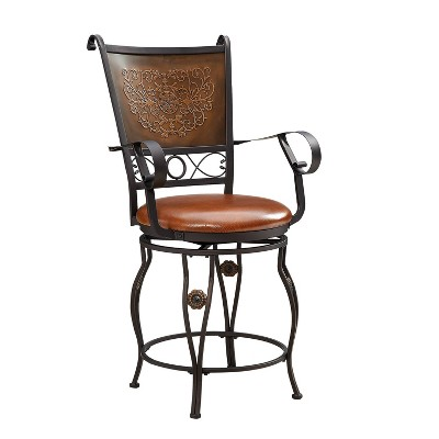 """24"""" Eli Big & Tall Copper Stamped Counter Height Barstool - Powell Company"""