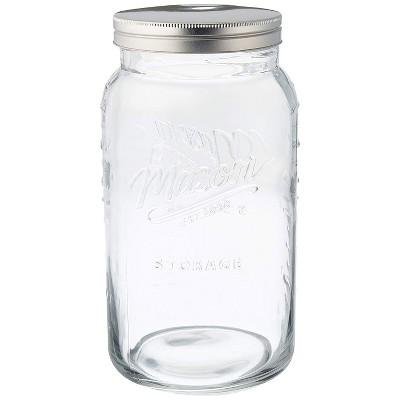 Grant Howard 50777 136 Ounce Jumbo Embossed Glass Mason Storage Jar with Lid