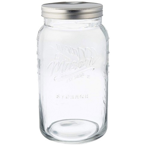 Grant Howard 50777 136 Ounce Jumbo Embossed Glass Mason Storage Jar with Lid - image 1 of 1