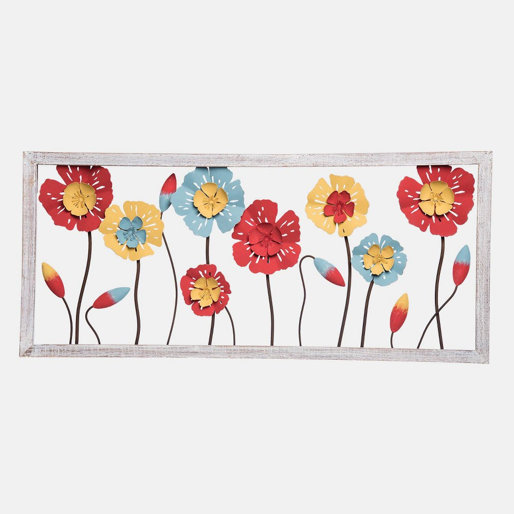"Image of ""16"""" Metal/Wood Recycled Flowers Wall Art - Foreside Home & Garden"""