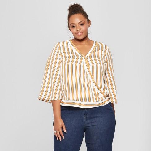 83cd3838fd8 Women s Plus Size Striped Wrap Front Short Sleeve Top - Ava   Viv™ Yellow