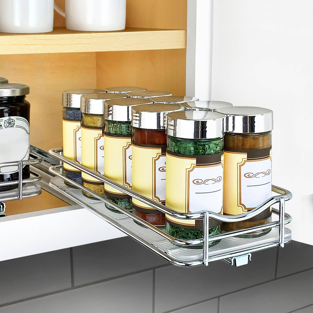 "Image of ""Lynk Professional Slide Out Spice Rack Upper Cabinet Organizer- 4"""" Wide"""
