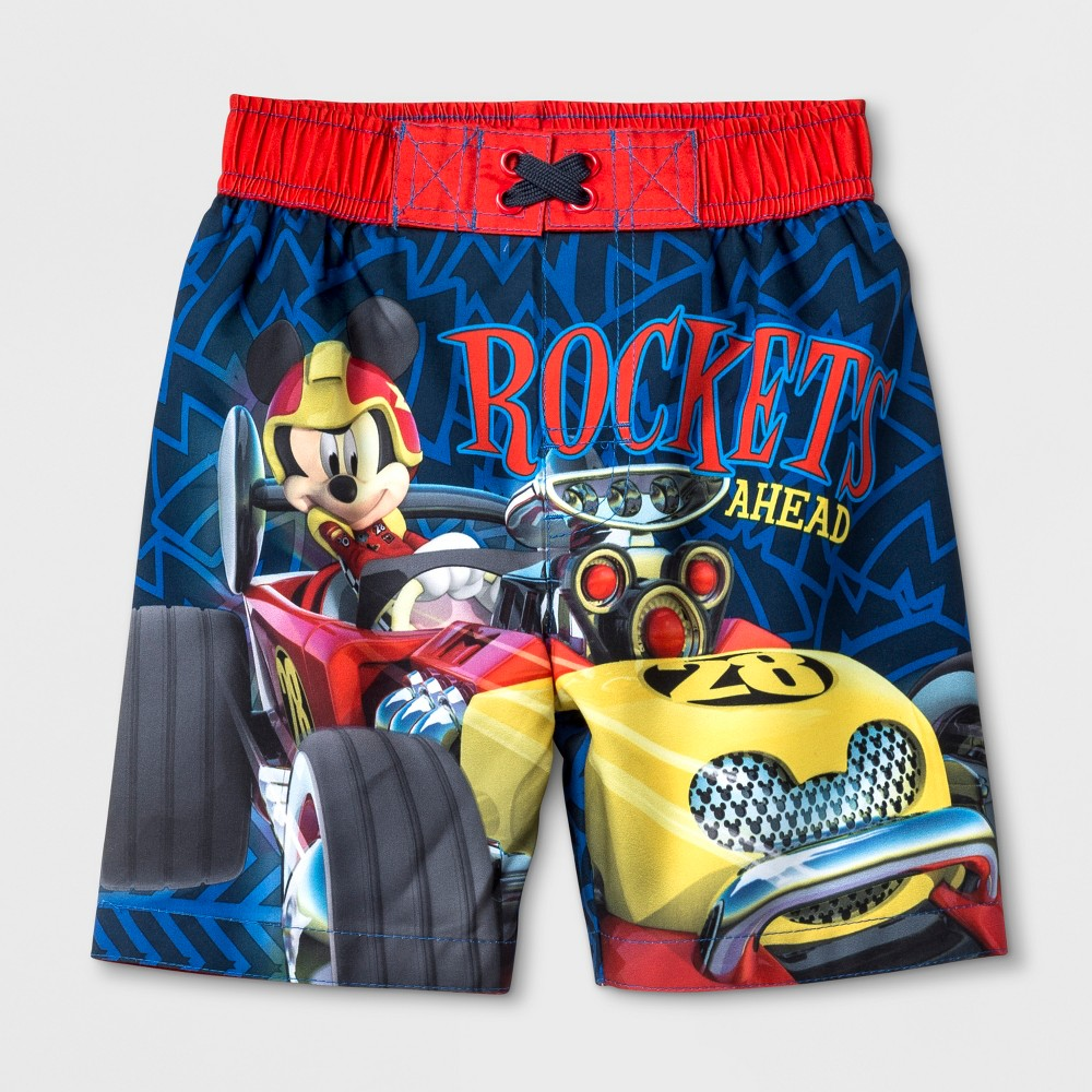 Toddler Boys' Mickey Mouse & Friends Mickey and the Roadster Racers Swim Trunks - Navy 2T, Blue