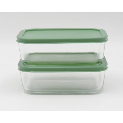 4.2 Cup 2pk Rectangular Glass Food Storage Container Set Light Green - Room Essentials™