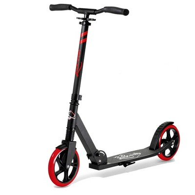 LaScoota Premium Teen Adult Adjustable Portable Folding Kick Scooter with Lightweight Wide Non Slip Deck and Carry Strap, Red