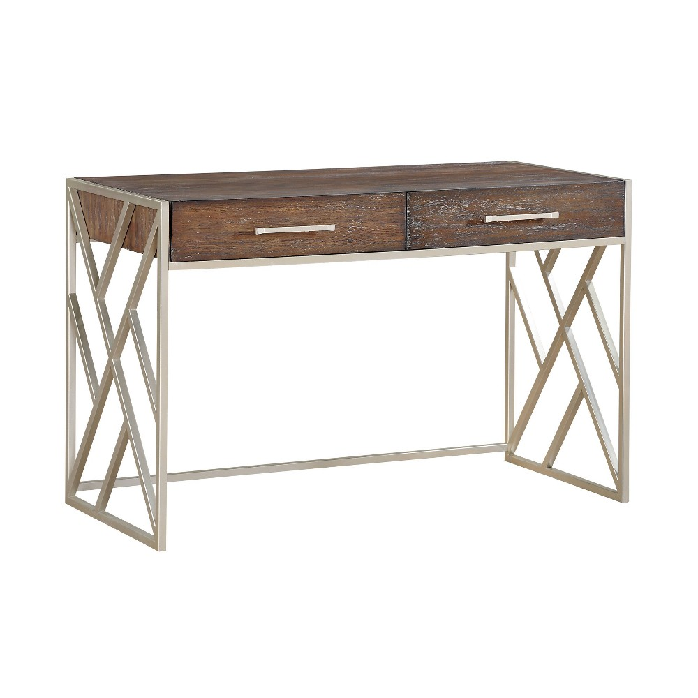 Eclectic Stylish 2 Drawer Computer Desk Brown - Treasure Trove