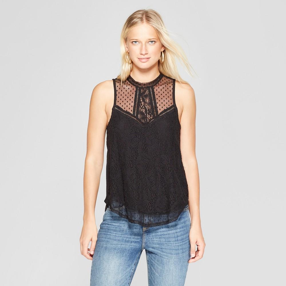 Women's Sleeveless Lace Front Top - Xhilaration Black XL