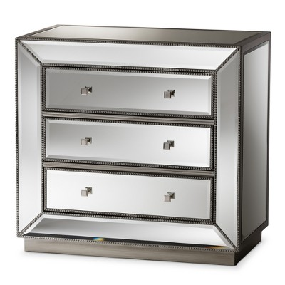 Edeline Hollywood Regency Glamour Style Mirrored 3 Drawer Chest Baxton Studio