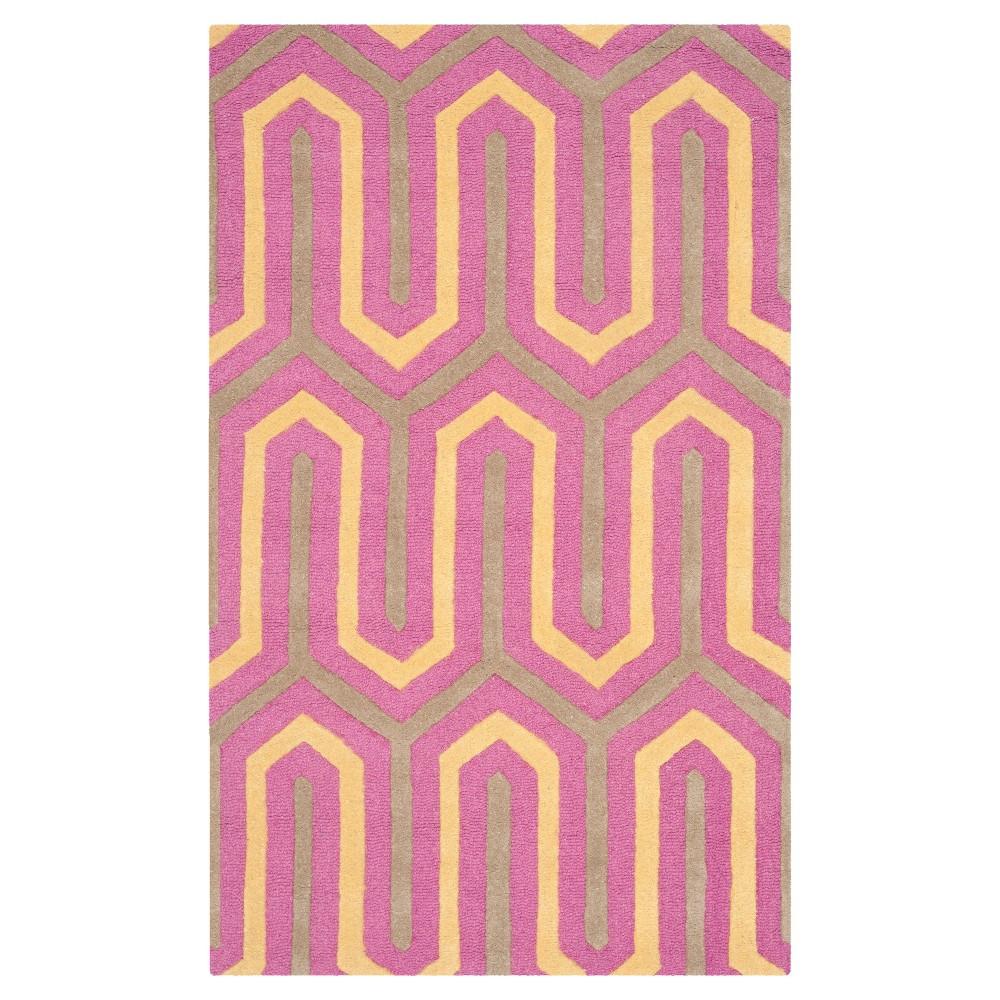 Aveline Geometric Textured Accent Rug - Fuschia/Gray (3'x5') - Safavieh, Pink/Gray