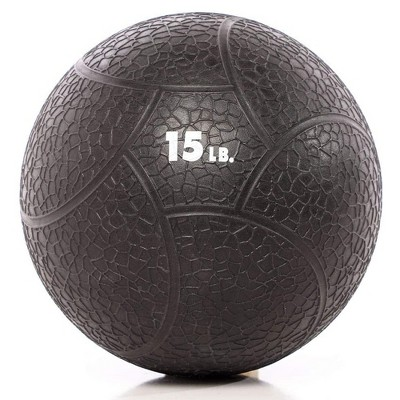 Power Systems Elite Power Textured Rubber 11 Inch Round Exercise Medicine Ball Prime Fitness Training Weight, 15 Pounds, Black