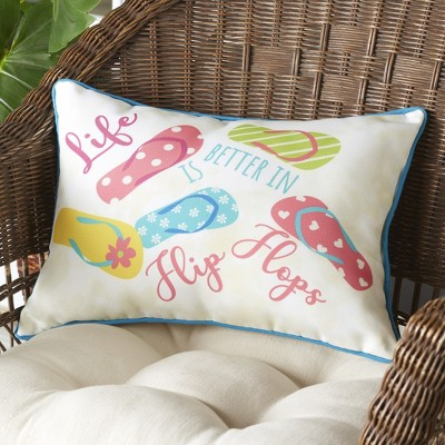 Lakeside Life is Better in Flip Flops Coastal Accent Throw Pillow for Outdoors
