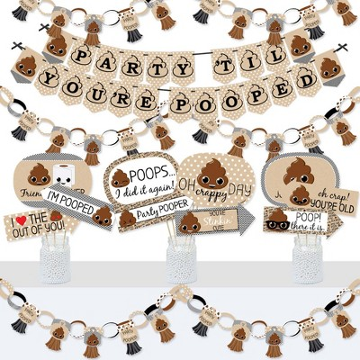 Big Dot of Happiness Party 'Til You're Pooped  - Banner and Photo Booth Decorations - Poop Emoji Party Supplies Kit - Doterrific Bundle