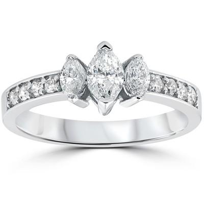 Pompeii3 1ct 3-Stone Marquise Diamond Engagement Ring 14K White Gold