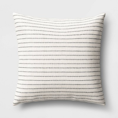 Striped Square Throw Pillow Black/Cream - Threshold™