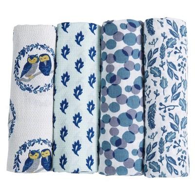Patina Vie Muslin Swaddle Blanket Set - Owls 4pc