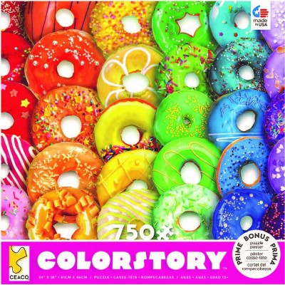 Ceaco Rainbow Donuts Color Story Jigsaw Puzzle - 750pc