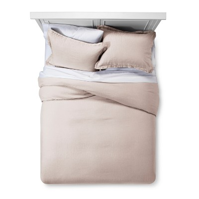 Blush Linen Duvet Cover Set (Full/Queen)- Fieldcrest®