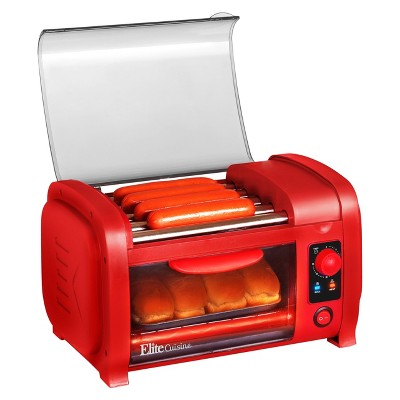 Elite Cuisine Hot Dog Roller and Toaster Oven in Red