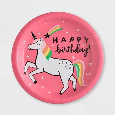 "10ct ""Happy Birthday"" Unicorn Dinner Paper Plates - Spritz™"