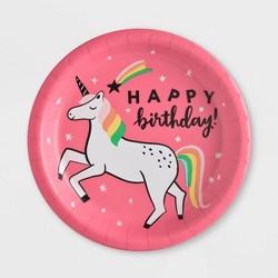 "10ct ""Happy Birthday"" Unicorn Dinner Plate - Spritz™"