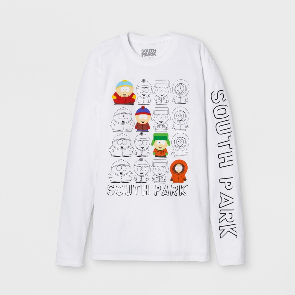Men's Long Sleeve South Park Crew Pullover T-Shirt - White M