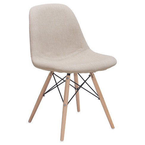 Modern Upholstered Metal and Beechwood Dining chair - Beige - ZM Home - image 1 of 5