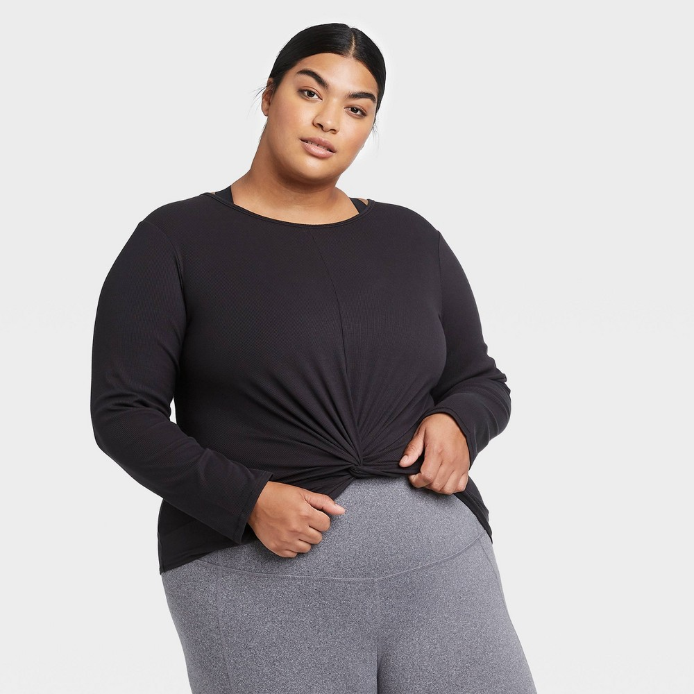 Women's Plus Size Long Sleeve Twist Front T-Shirt - All in Motion Black 2X was $24.0 now $10.8 (55.0% off)