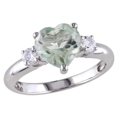 1.65 CT. T.W. Heart Shaped Amethyst and .3 CT. T.W. Simulated Sapphire Ring Sterling Silver - Green - image 1 of 3