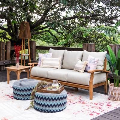 Caterina Teak Patio Sofa with Cushion - Beige - Cambridge Casual