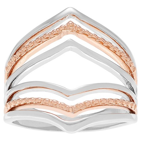 Women's Journee Collection Rose Goldplated Split Shank Ring in Sterling Silver - image 1 of 2