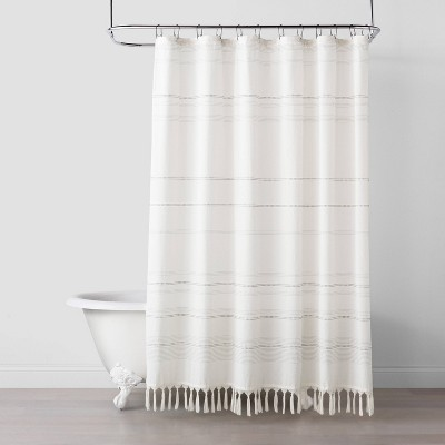 Woven Stripe Knotted Fringe Shower Curtain - Hearth & Hand™ with Magnolia