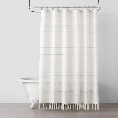 Woven Stripe Knotted Fringe Shower, Target Bathroom Shower Curtains