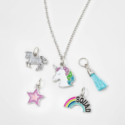 Girls' DIY Unicorn and Star Charm Necklace - Cat & Jack™ Silver
