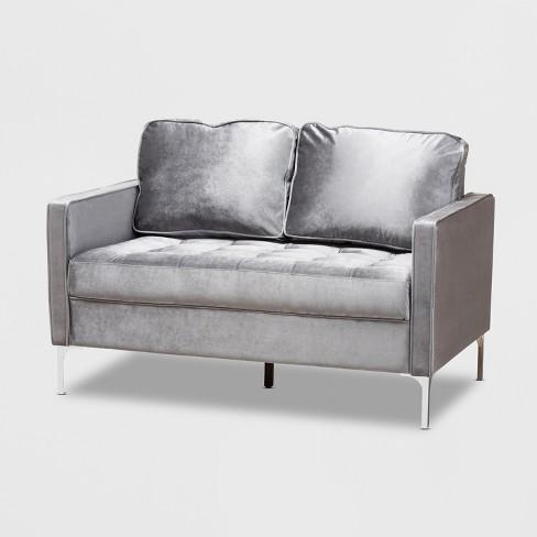 Clara Velvet Fabric Upholstered 2 Seater Loveseat Gray - BaxtonStudio - image 1 of 4