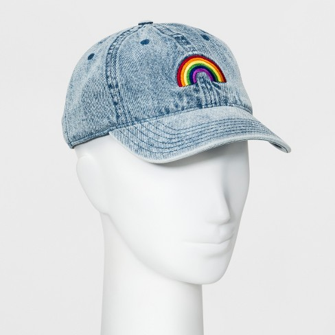 324246dd3 Women's Acid Wash Denim Rainbow Baseball Hat - Wild Fable™ Denim Blue