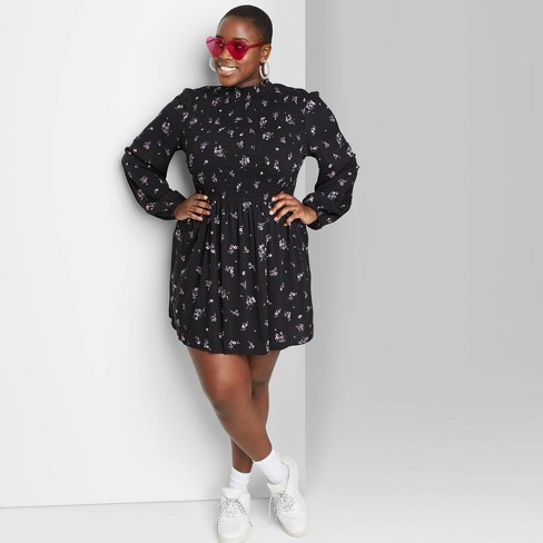 Women\'s Plus Size Floral Print Long Sleeve High Neck Smocked Dress - Wild  Fable™ Black
