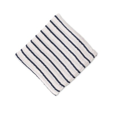 Red Rover Cotton Muslin Single Swaddle - Navy Stripe