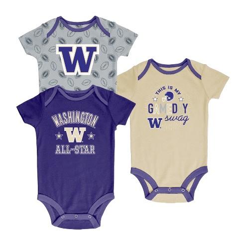 Washington Huskies Baby Boy Short Sleeve 3pk Bodysuit - image 1 of 1