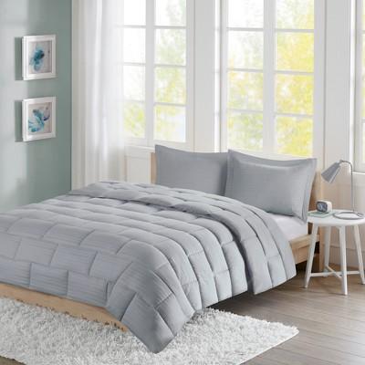 Ava Seersucker Down Alternative Comforter Set (King)Gray - 3pc