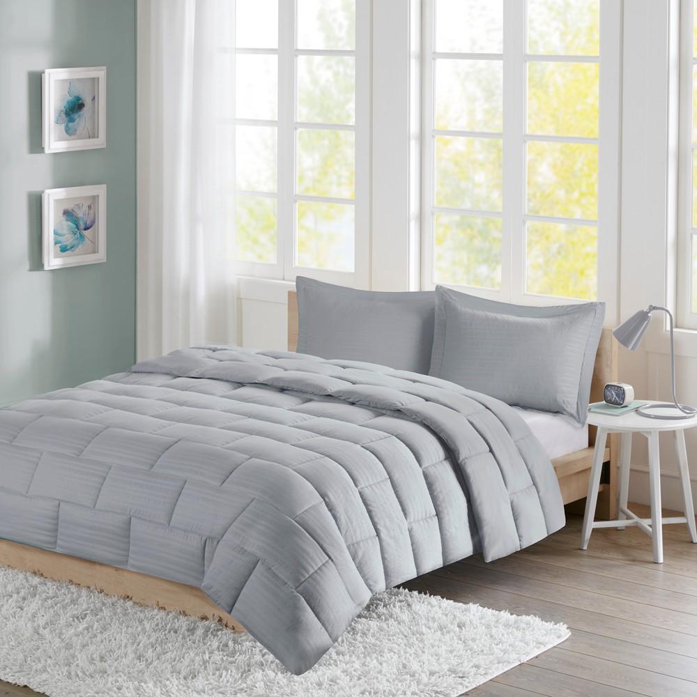 Image of Ava Seersucker Down Alternative Comforter Set (Twin) Gray - 2pc