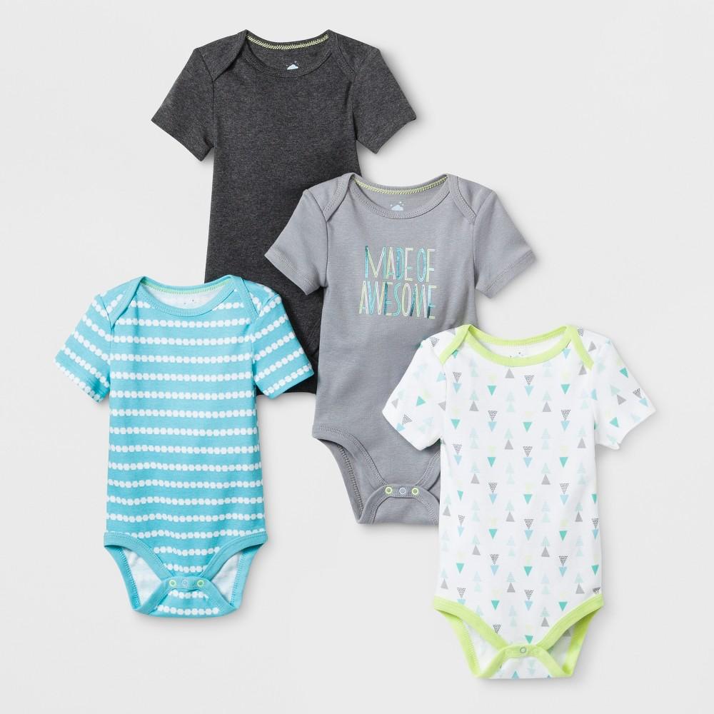 Baby Boys' 4pk Shorts sleeve Bodysuit - Cloud Island Charcoal Heather 12M, Gray