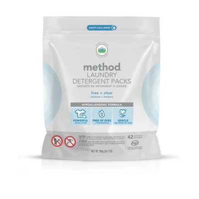 Method Free & Clear Laundry Detergent Packs - 42ct