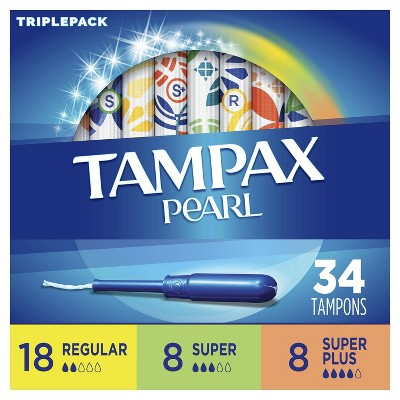 Tampax Pearl TriplePack Tampons - Regular/Super/Super Plus/ - Unscented - 34ct