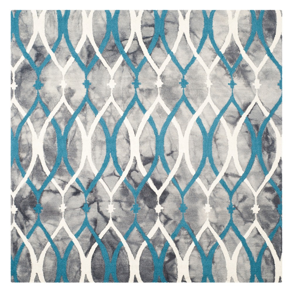 5'X5' Shapes Square Area Rug Gray/Ivory - Safavieh, Gray/Ivory Blue