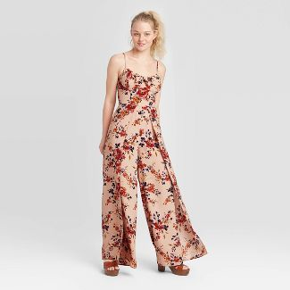 Women's Floral Print Sleeveless V-Neck Tie Front Jumpsuit - Xhilaration™ Blush Pink S