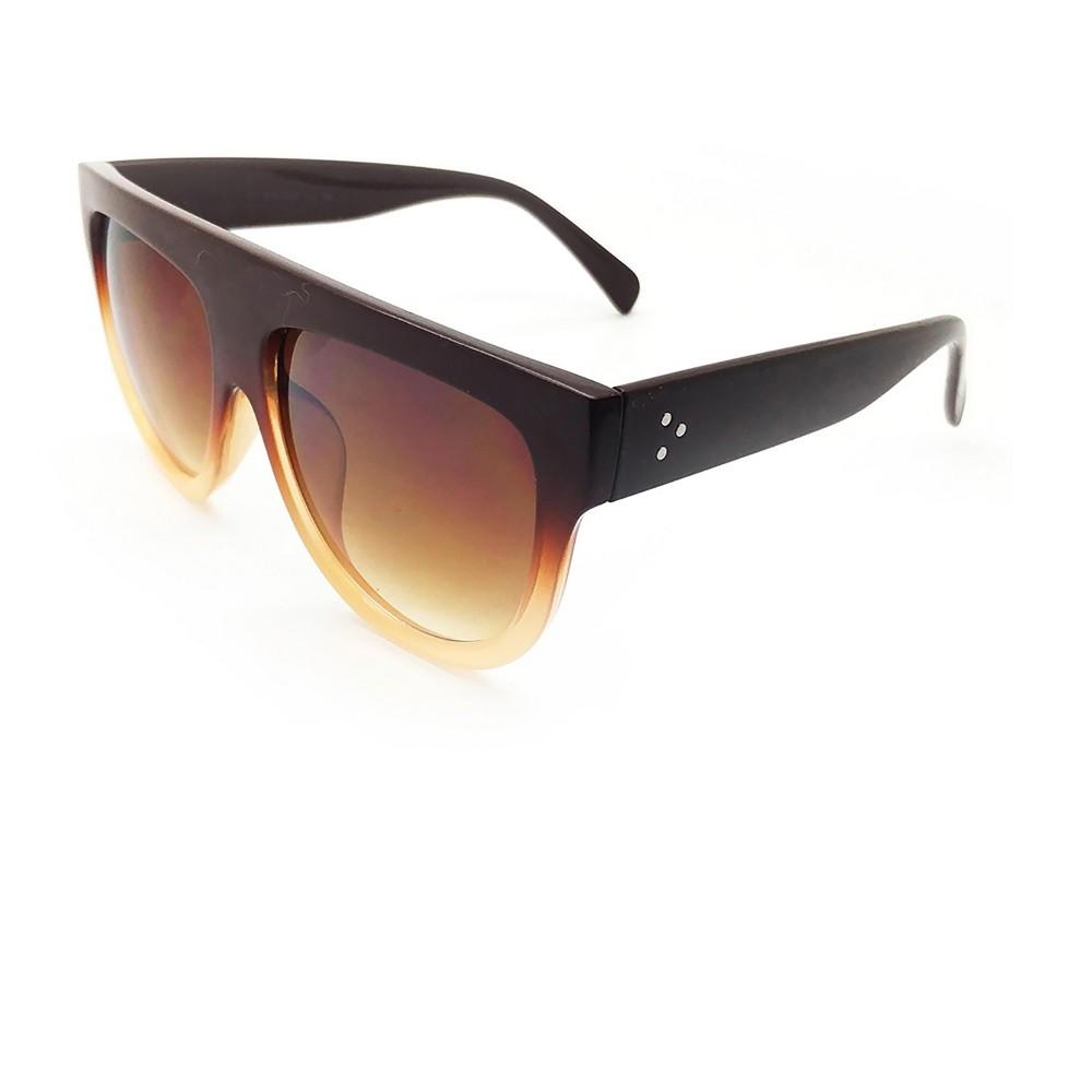 Women's Flat Sunglasses Tortoise Print - Brown, Size: Small