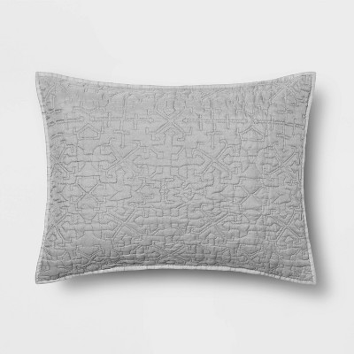 Standard Garment Washed Quilted Pillow Sham Gray - Opalhouse™