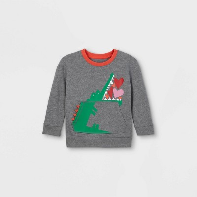 Toddler Boys' Valentine's Day Alligator Hearts Fleece Pullover Sweatshirt with Elbow Patches - Cat & Jack™ Gray